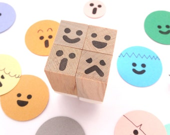 Smiley face stamps set, Hobonichi stamps, Kids toy gift idea, Japanese stationery