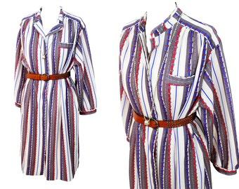 Vintage 1970's Canda belt print shirt dress | 70s Dress | 70s shirt dress