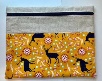 Project Bag SALE - WIP Pouch - Yellow Deer
