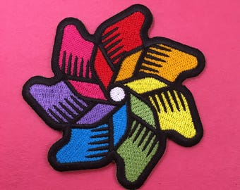 Rainbow Pinwheel Iron-On Patch