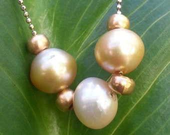 South Sea Cultured Pearls and Gold Vermeil Necklace