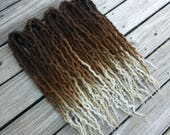 """Brown Blonde Silver Ombre Double Ended Wool Dreads """"Valar Morghulis"""" Choose Length and Amount"""