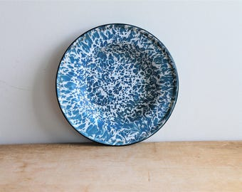 Beautiful Antique Blue Splatter Enamel / Enamelware Graniteware Bowl - Rustic Modern - Farmhouse - Country Decor - Cobalt