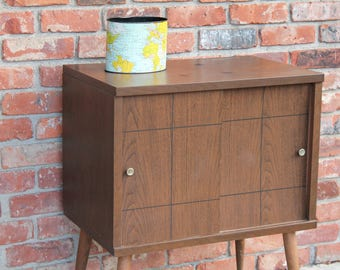 Reserved Mid Century Modern Record Cabinet Media TV Stand Peg Leg Legs Lu Van Inc Danish Style Vintage Bed Side Night End Table Sliding Door