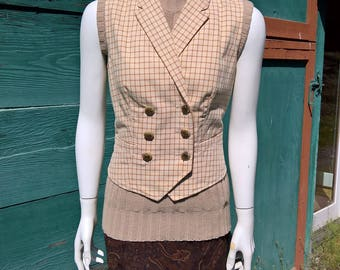 Vintage Ralph Lauren Cream Tattersall Vest