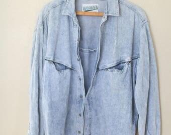 vintage 1990's express oversized acid washed blue chambray denim shirt womens