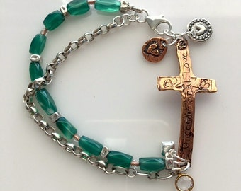 "Artisan Copper Bronze Cross, Sterling Silver Chain and Chrysoprase Beaded ""Unconditional Love"" Mixed Metals Bracelet With Hearts"
