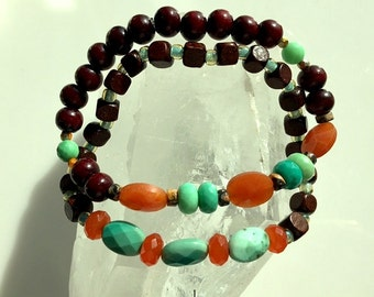Carnelian, Chrysoprase, and Mahogany Brown Wood Beaded Adjustable Bracelets or Set