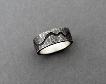 Wide Hammered Band, Sterling Silver Ring, Oxidized Silver, Rustic Ring, Personalized Ring, Hammered Ring, Wide Silver Ring, Silver Band Ring