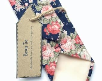 Floral tie, navy blue skinny tie, red rose print, blush pink floral tie, mens skinny tie, wedding tie, men's floral tie