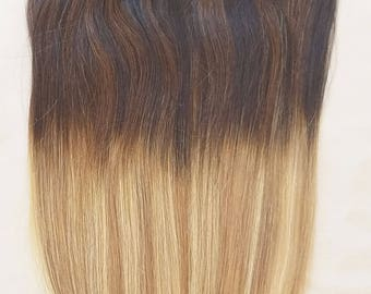 "18"", 20"", 22"" 24"" 100% Ombre BALAYAGE Clip in Human Hair Extensions 7Pcs,14 clips # T2-18/613"