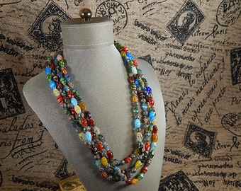 Beaded necklace 4 colorful rows glass beads Stunning