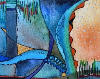 No name 1-Aceo ORIGINAL Watercolor Painting,One of a kind,Abstract ,colorful,vivid Painting,Aceo,Ooak,Pen and Ink,Aquarelle,one of a kind