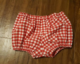 Baby Girl or Boy Diaper Cover Bloomers Cotton Fabric White and Red Gingham Decorative Design
