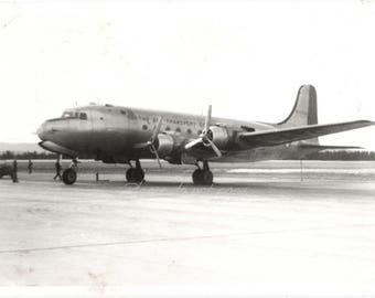 the soldier photographer ~  Vintage Snapshot Photo ~ Air Transport Airlines airplane