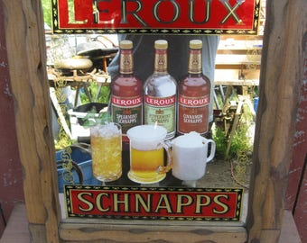 Vintage Leroux Schnapps bar mirror/sign liquor