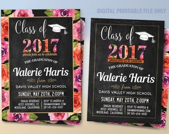 Graduation Invitation, Graduation Announcement with Flowers, Graduation Party Announcement, Digital Files to Print