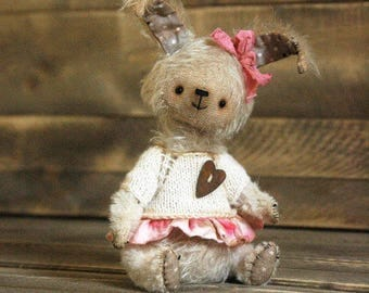 White Mohair Bunny Artist Teddy Bunny Mohair Rabbit Toy Gift for Her