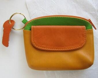 Leather coin purse, vintage coin purse, Tula purse, bags and purses, orange purse, vintage purse, leather purse, bags and purses