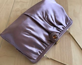 Ande Mauve Satin Clutch Cocktail Handbag Chain Strap 1960s