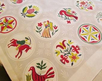 Vintage Simtex Pennsylvania Dutch Design Tablecloth - 45 Inches by 51 Inches