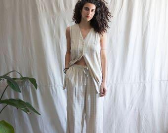 RESERVED - Sand + Bone Two Piece Cotton Linen Suit