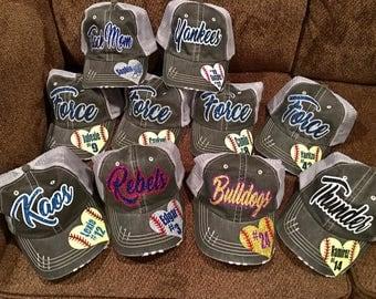 Baseball cap, Softball cap, softball mom, hat, cap, trucker hat, mesh hat, personalized cap, glitter hat, baseball, baseball mom, all sports