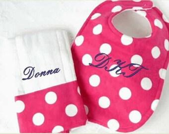 Girl's Pink Polka Dot Bib Burp Cloth Set, monogram bib,  baby shower gift, mother to be gift, embroidered bib, toddler bib,feeding bibs,