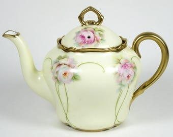 Antique German Teapot 20 oz Art Nouveau Pink Roses on Yellow 1895-1910 Bavaria
