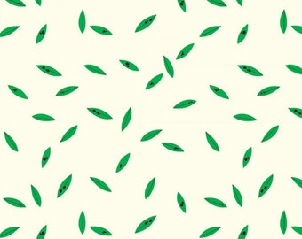 Green Leaves (Organic Poplin Fabric) by Charley Harper from the Western Birds collection for Birch Fabrics
