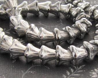 Silver Mini Bell Flower 5x4mm Czech Glass  Beads 25pc #852