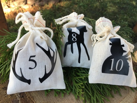 Rustic Muslin Bag Advent Calendar