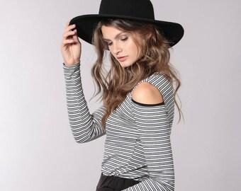 stripes women's shirt, cut outs shirt, off the shoulder shirt, stripes shirt, stripes top
