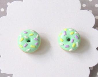 Mint Donut Earrings, Pastel Donut Earrings, Green Earrings, Food Earrings, Miniature Food Jewelry, Hypoallergenic, Cute Earrings, Round Stud