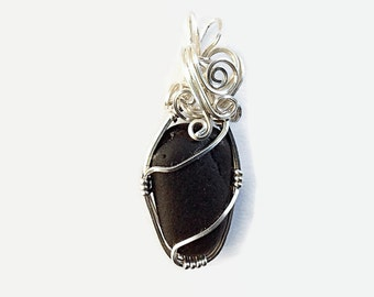 Wire Wrapped Black Sea Glass Pendant, Black English Beach Glass Set in Sterling Silver, Artisan Jewelry, Beach inspired, Fall Accessory