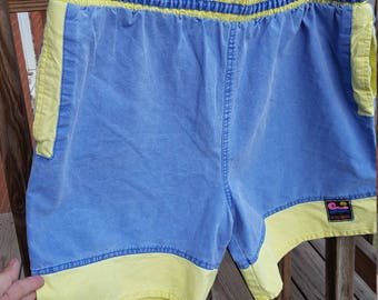 1990's Men's Shorts Neon Blue and Lime XL