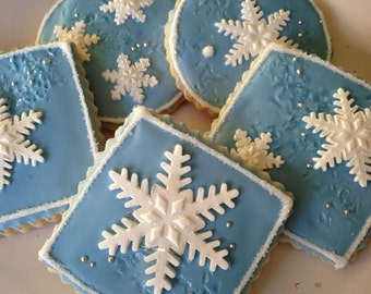 Gluten Free Decorated Christmas Cookie - Snowflakes in Blues