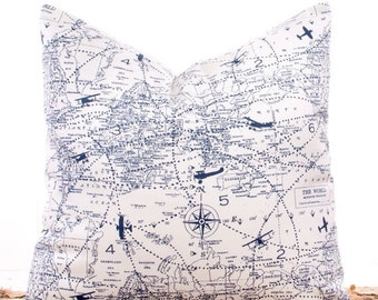 SALE ENDS SOON Navy Blue Pillow Covers, Throw Pillows, Pillow Slipcover, Cushions, Sofa Pillows, Nautical Map, 18 x 18""
