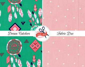 DREAMCATCHER Fabric Bundle Duo Fabric by the Yard Fat Quarter Dream Catcher Tribal Fabric 100% Cotton Quilting Fabric Apparel Fabric Kit