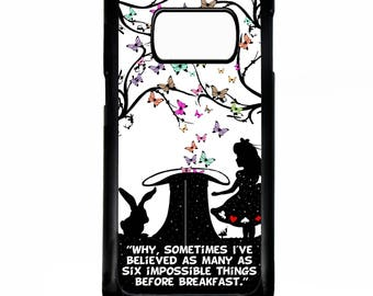 Alice in wonderland mad hatter silhouette art quote phrase case for Samsung Galaxy S8 / s8+ plus phone cover