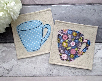 A Set Of 4 Mug Coasters, Decorative Blue Fabric Coasters, Housewarming Gift, Hostess Gift, Fabric Coasters, Gift For Her, Drinks Mats,