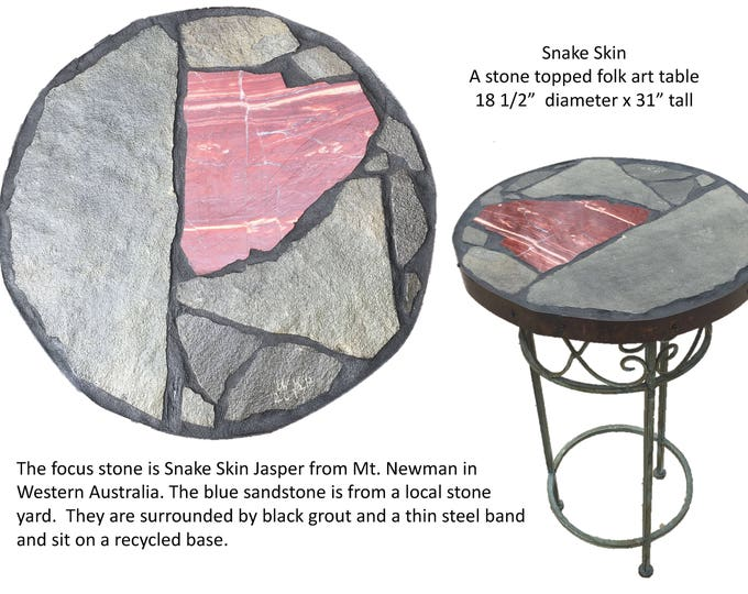 "Snake Skin: An 18 1/2"" diameter by 31"" high stone topped folk art table"