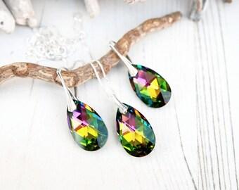 Sterling Silver Swarovski Earrings Necklace Set-Swarovski Crystal Jewellery-Vitrail Multi Tone -Bridesmaids Teardrop Dangle Drop Earrings