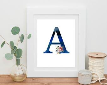 Monogram Art Print, Printable Art, Wall Art, Nursery Decor, Art Print, Watercolor, Floral