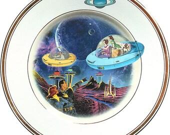 Coming Home - Flying Saucer - Vintage Porcelain Plate (*) - #0000