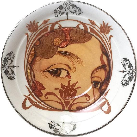 Lover s Eye Art-Nouveau - Vintage Porcelain plate - #0169 Limited Edition