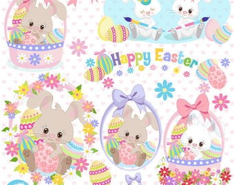 Easter Clipart, Bunny Clipart, Easter Basket Clipart, Easter Bunny Clipart, Instant Download, Commercial Use, AMB-1169