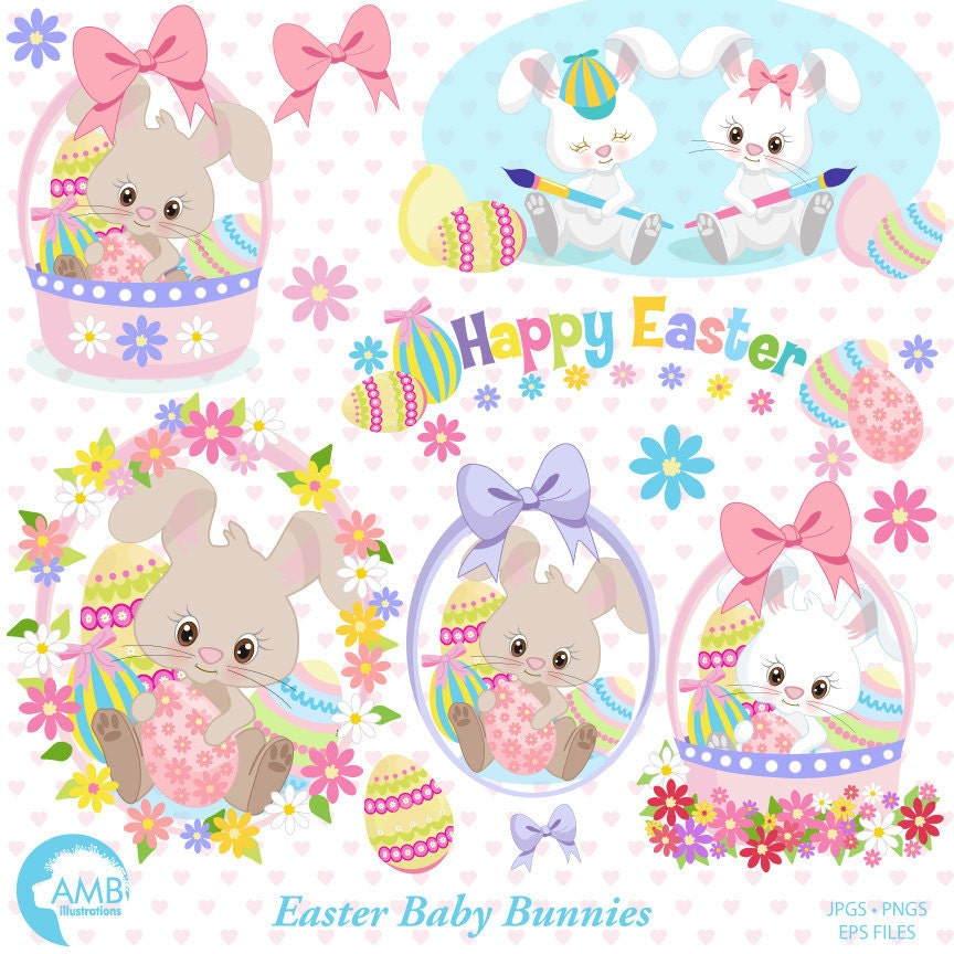 Easter bunny clipart | Etsy