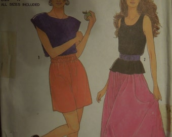 Simplicity 9655, sizes 10-20, UNCUT sewing pattern, craft supplies, pullover tops, skirt and shorts, misses, womens,