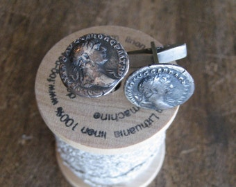 Roman Coin Cuff Links, Sterling Silver Roman Coins